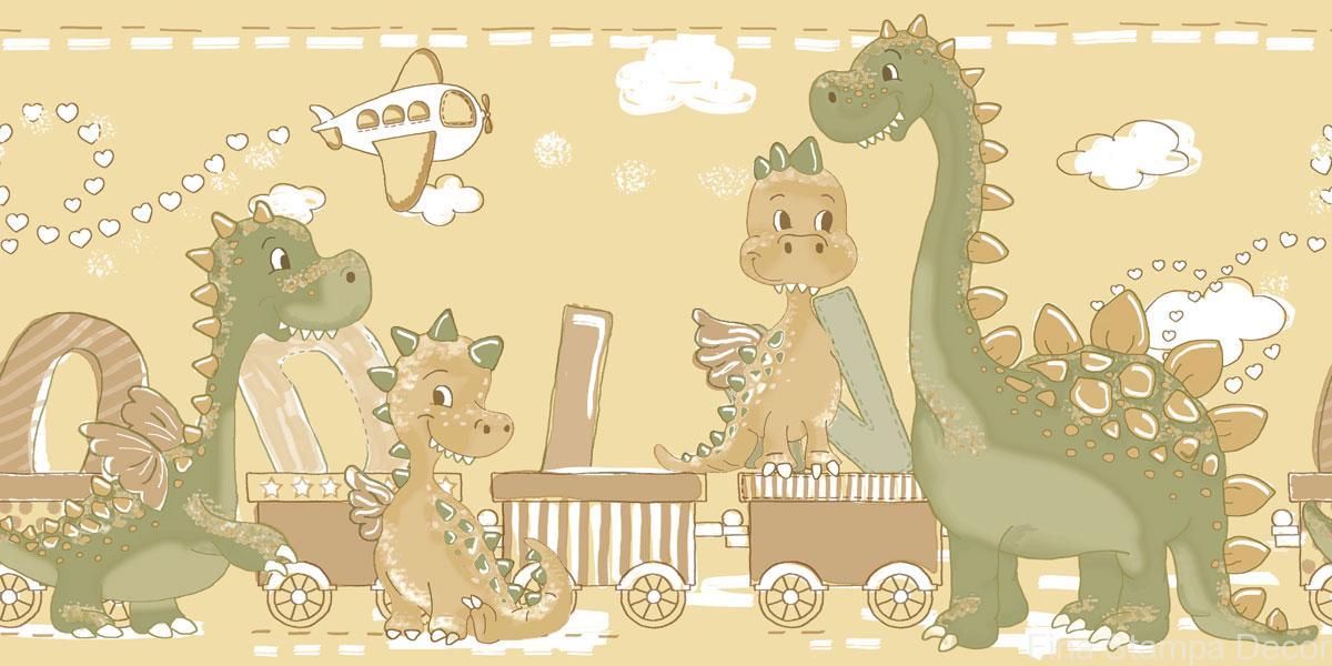 Faixa De Papel Infantil Bim Bam Bum Desenho Dinossauros Fina