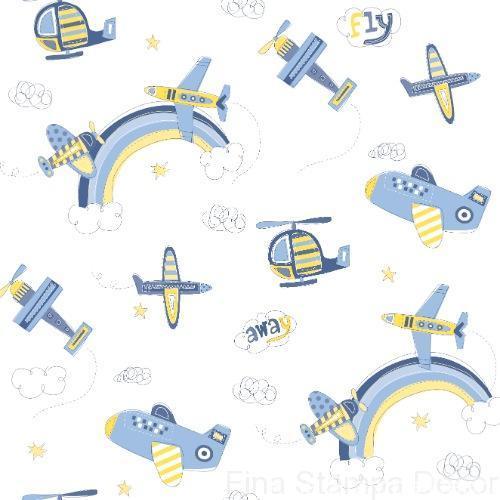 Papel De Parede Infantil Desenho Avioes Fina Stampa Decor